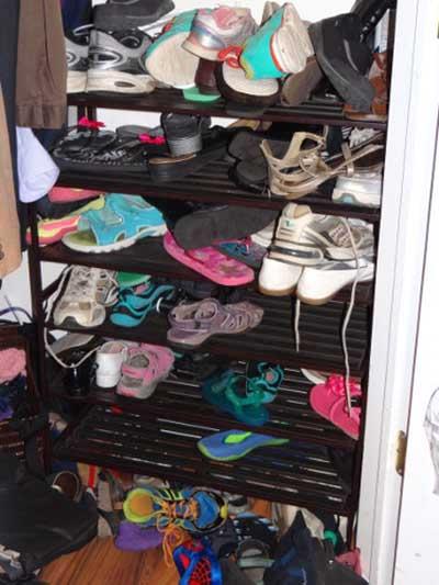 Disorganized shoe shelves and rack