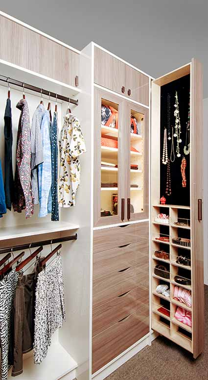 Full height vertical pull out walk-in closet idea
