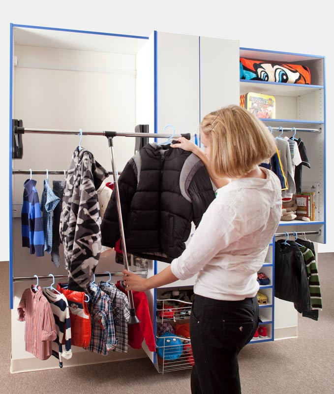 Reach in closet with adjustable shelving for optimal organization